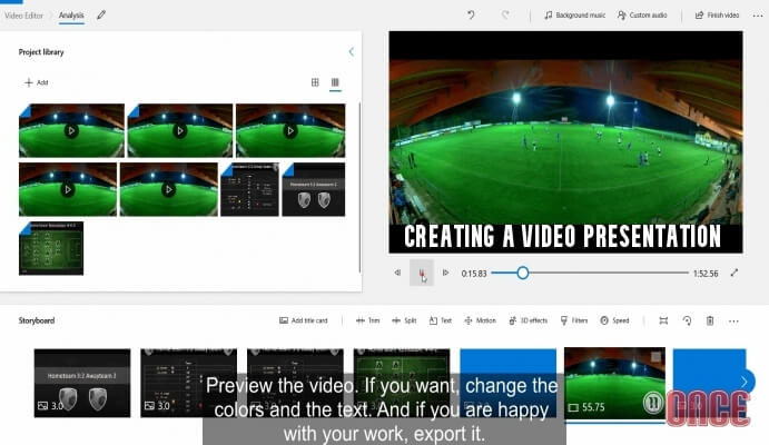 Creating a video presentation with Microsoft Photos and Once Video Analyser